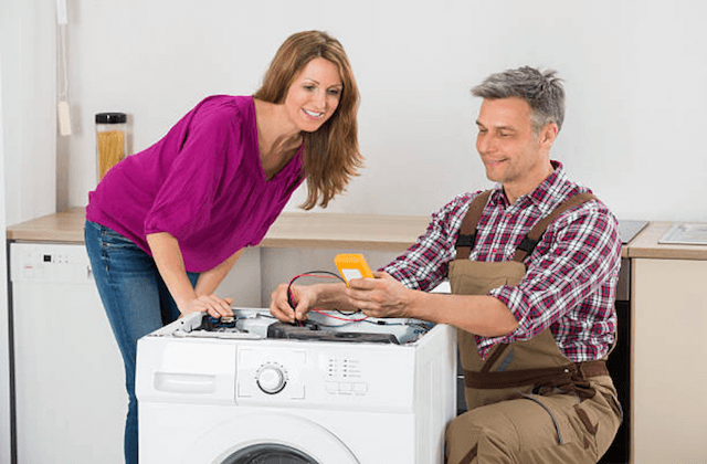 appliance repairman and customer
